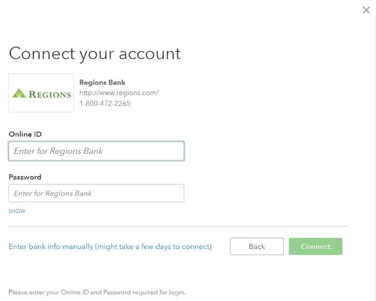 Screenshot of Entering Your Online Bank Credentials on QuickBooks