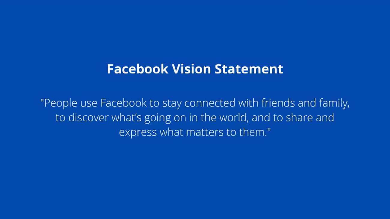 Screenshot of Facebook Vision Statement