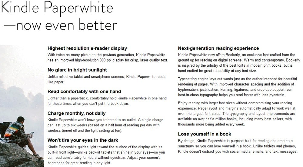 Screenshot of Facts on Product Kindle Paperwhite Now Even Better