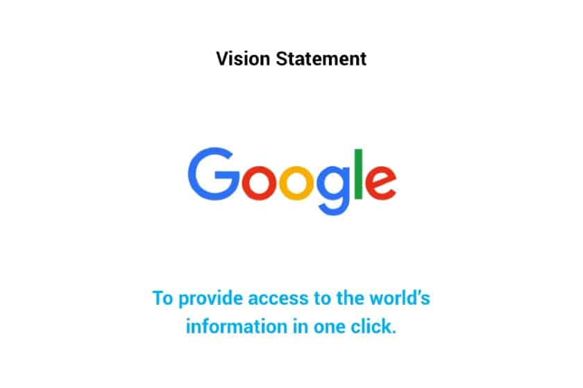 Screenshot of Google Vision Statement