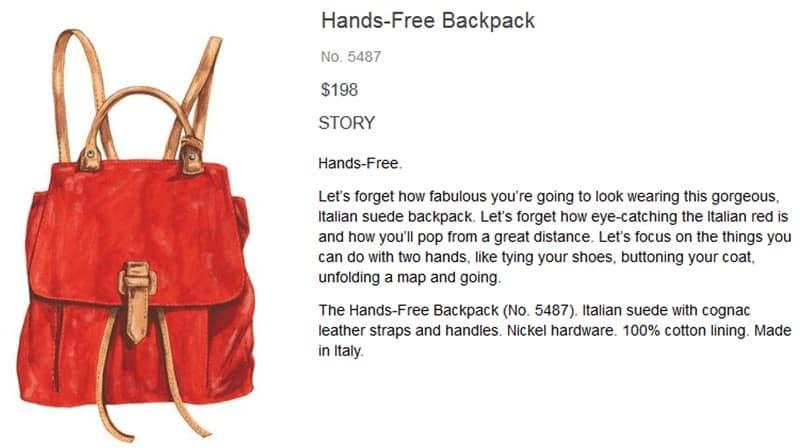 Screenshot of Hands Free Backpack Product Description
