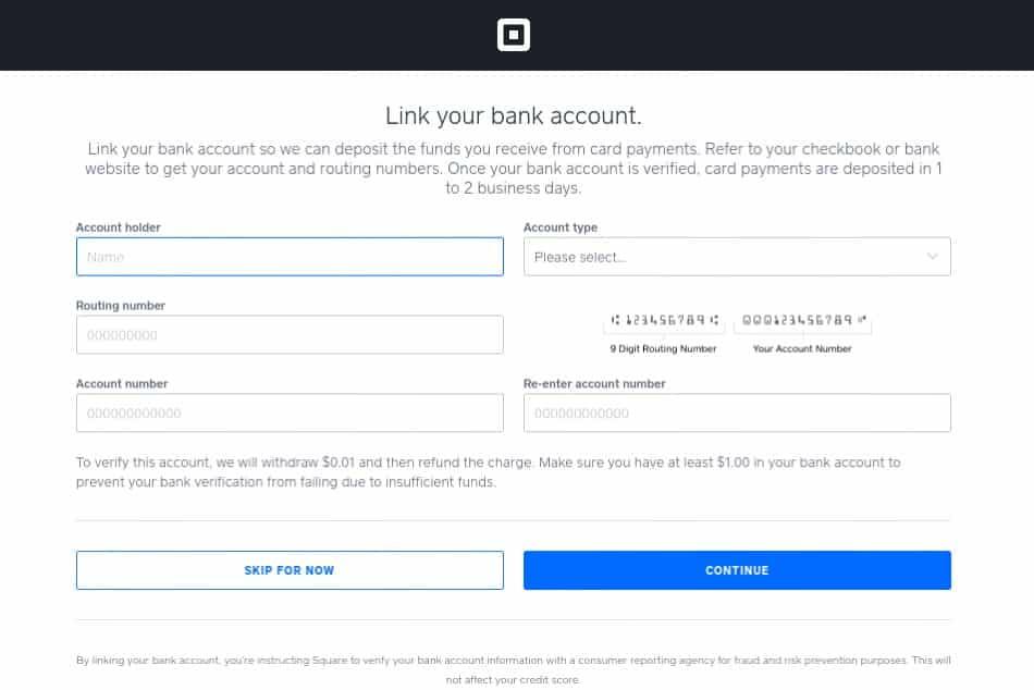 Screenshot of Linking a Bank Account
