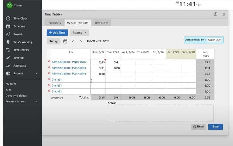 Screenshot of Logging Work Hours Manually with Time Entries