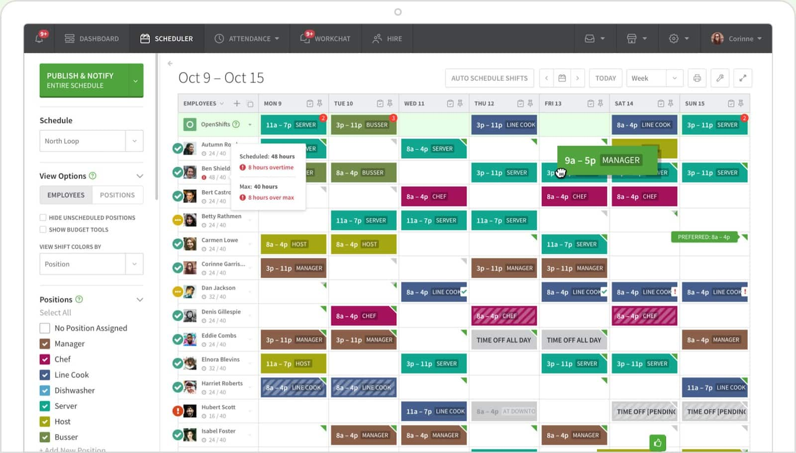 Screenshot of Online Schedule Builder on When I Work
