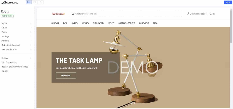 Screenshot of Optimizing Theme on BigCommerce