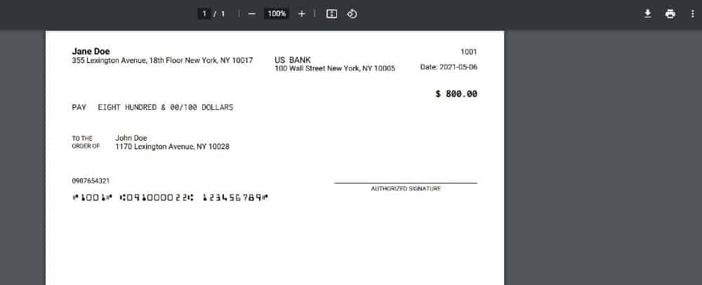 Screenshot of PDF Version Personal Check