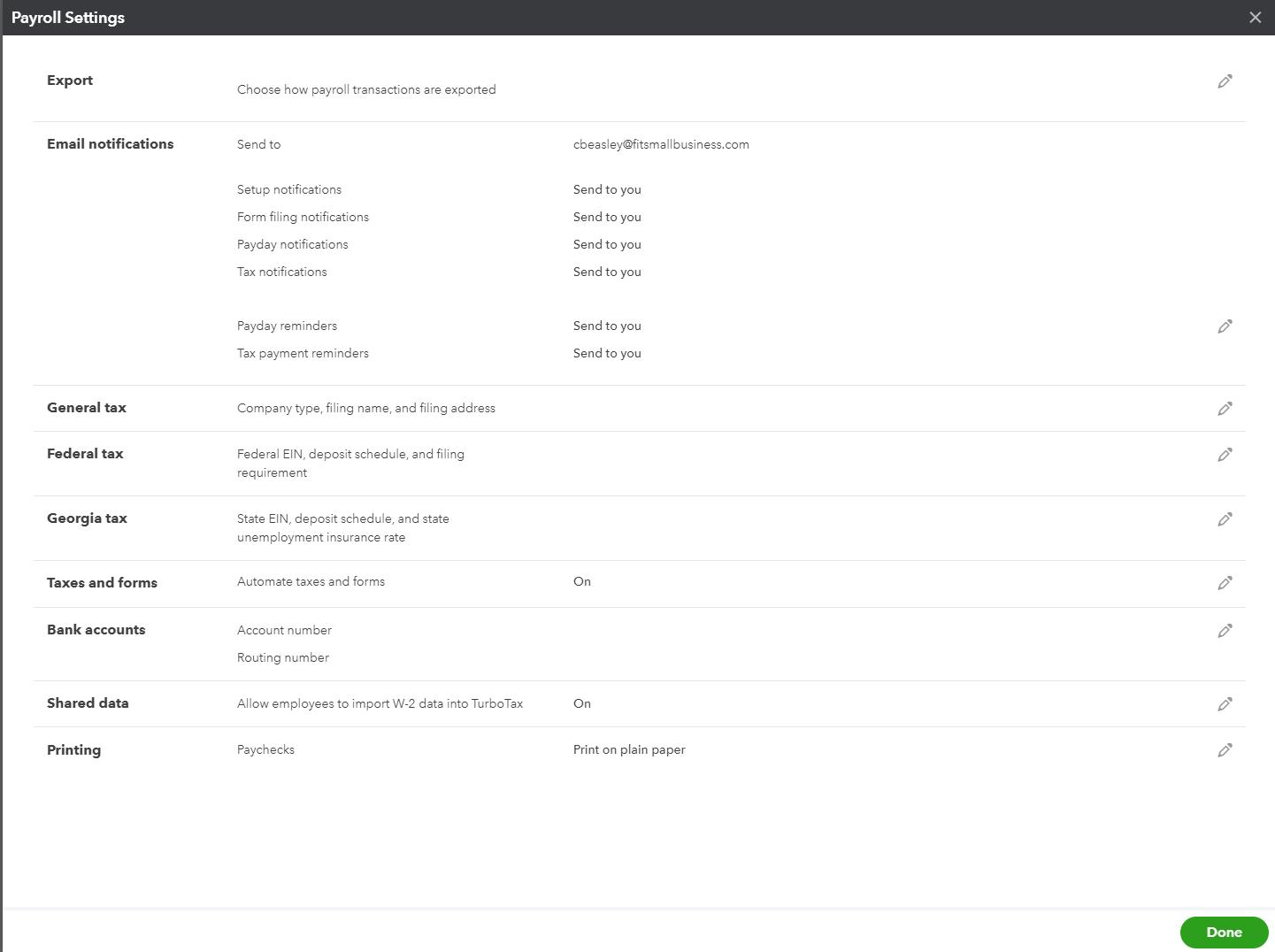Screenshot of Payroll Settings Display on QuickBooks