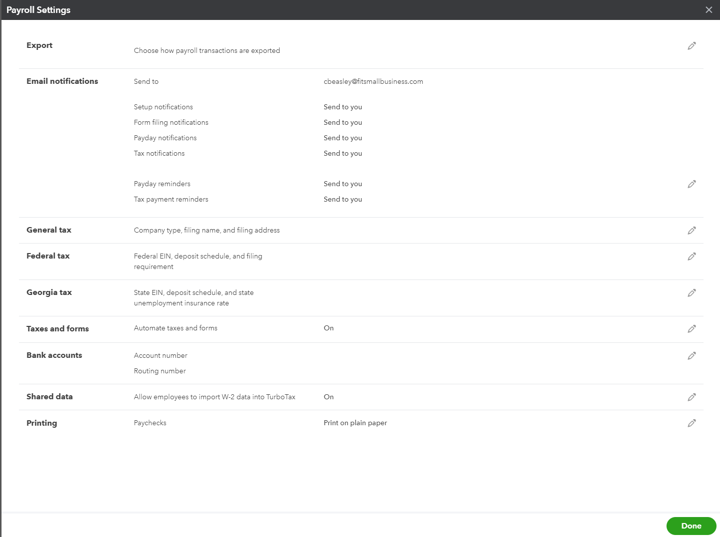 Screenshot of Payroll Settings on QuickBooks