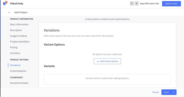 Screenshot of Product Options on BigCommerce