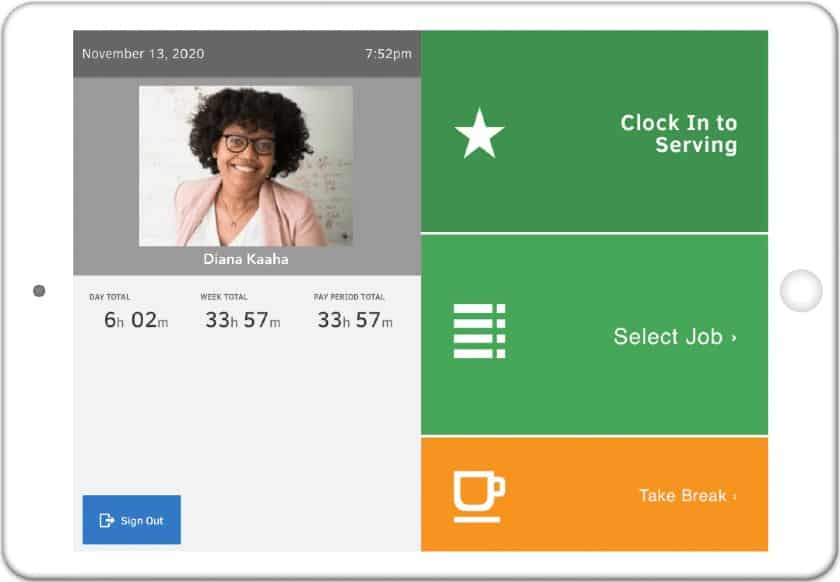 Screenshot of QuickBooks Time on a Tablet