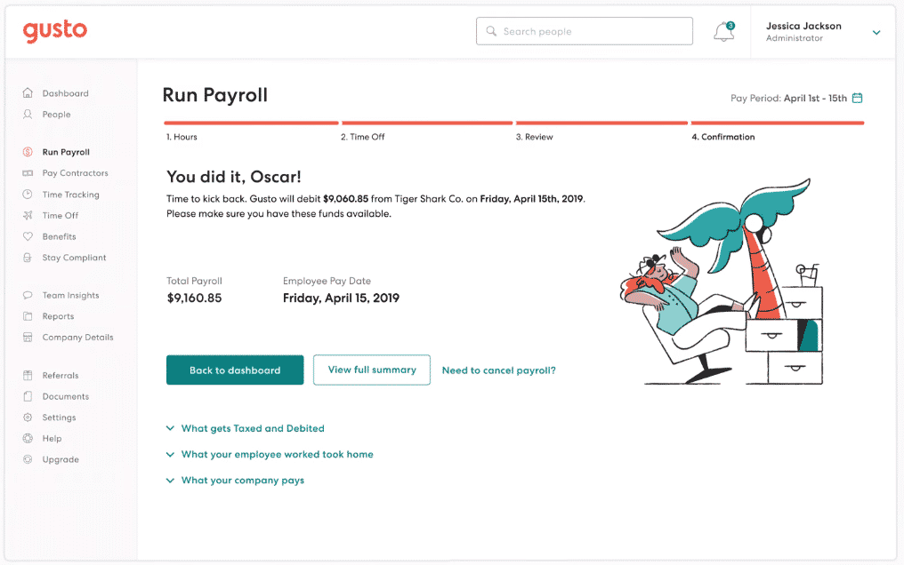 Screenshot of Running and Submitting Payroll on Gusto