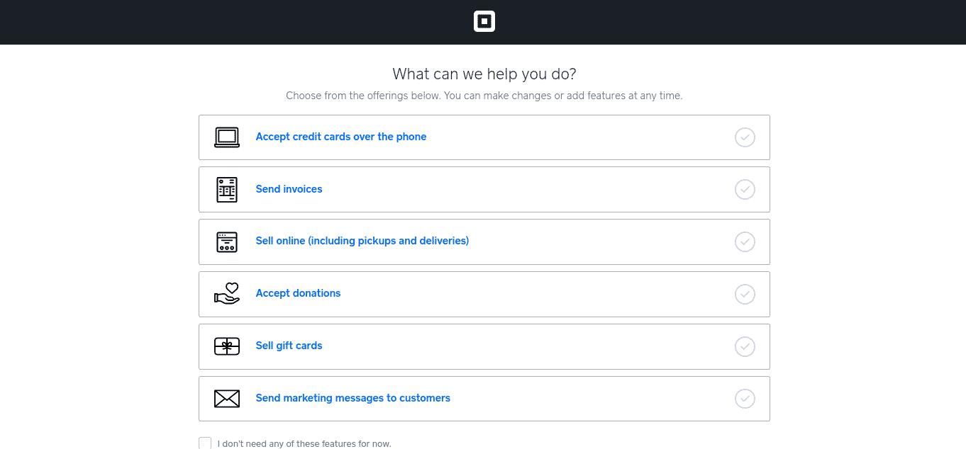 Screenshot of Selecting Sell Online Demo