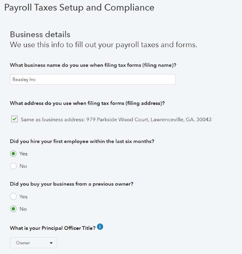Screenshot of Setting up Payroll Tax and Compliance on QuickBooks