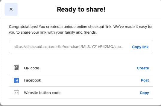 Screenshot of Sharing Link Checkout
