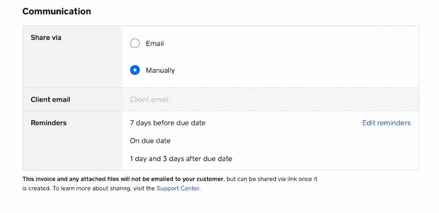 Screenshot of Sharing Via Email Or Manually