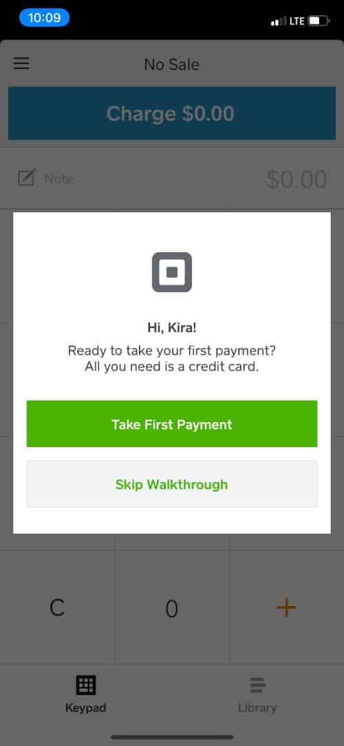 Screenshot of Square App Mobile First Payment