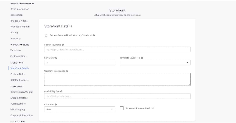 Screenshot of Storefront Information on BigCommerce