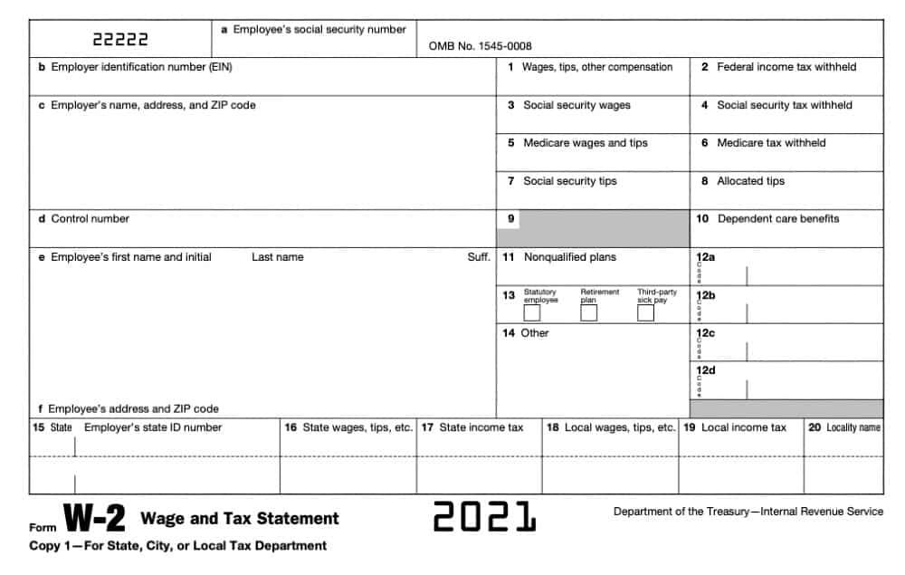 Screenshot of W2 Form