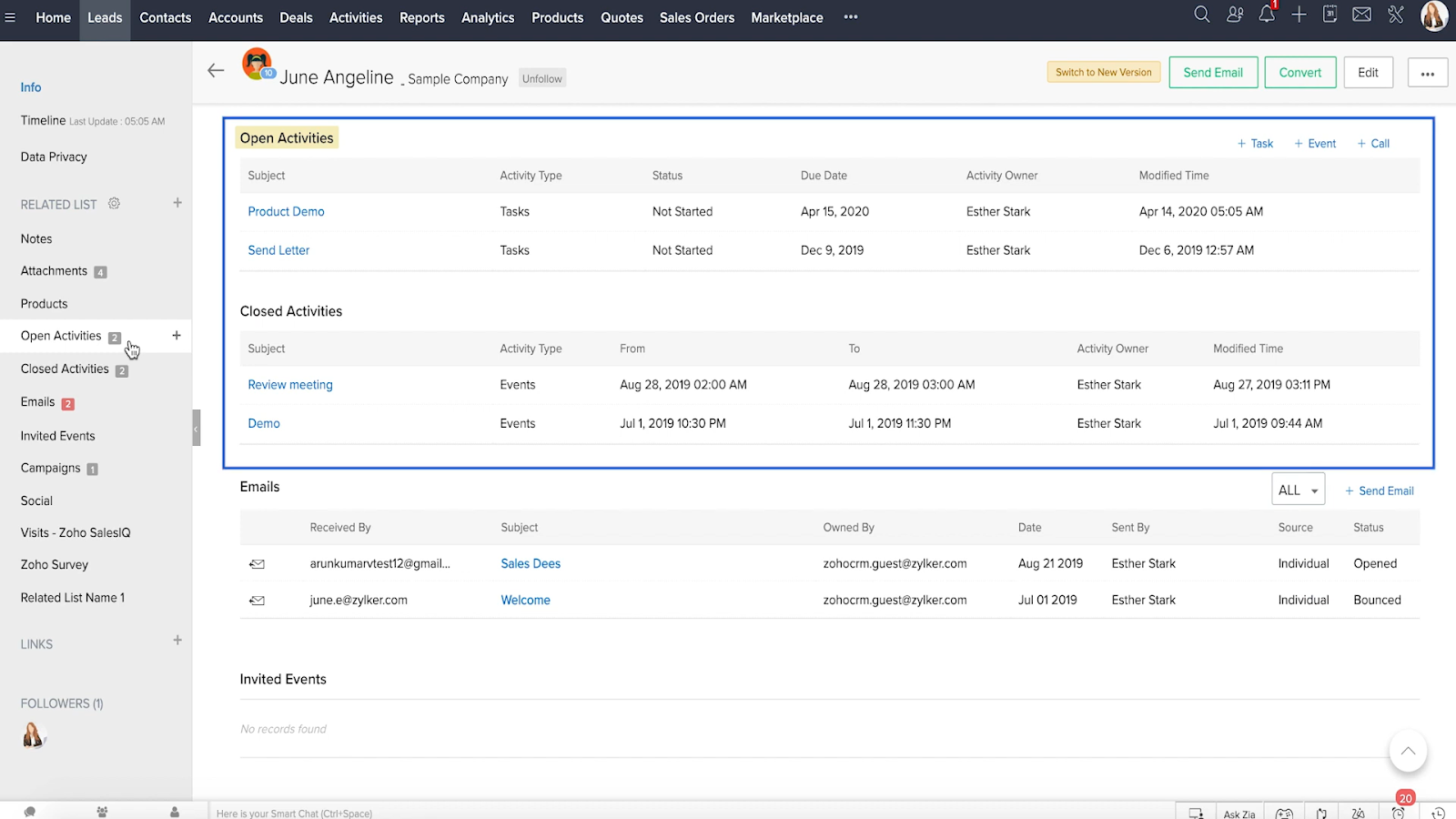 Zoho CRM lead management interface