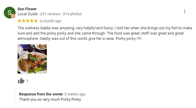 owner give response to a positive review