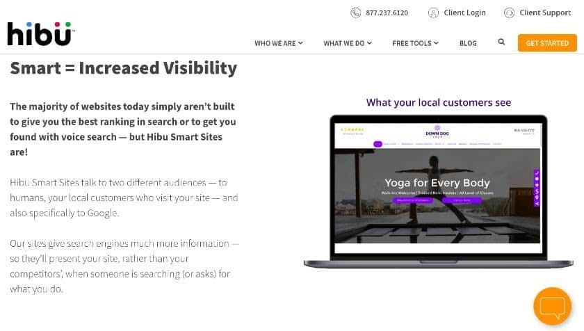 Screenshot of professionally designed website from Hibu