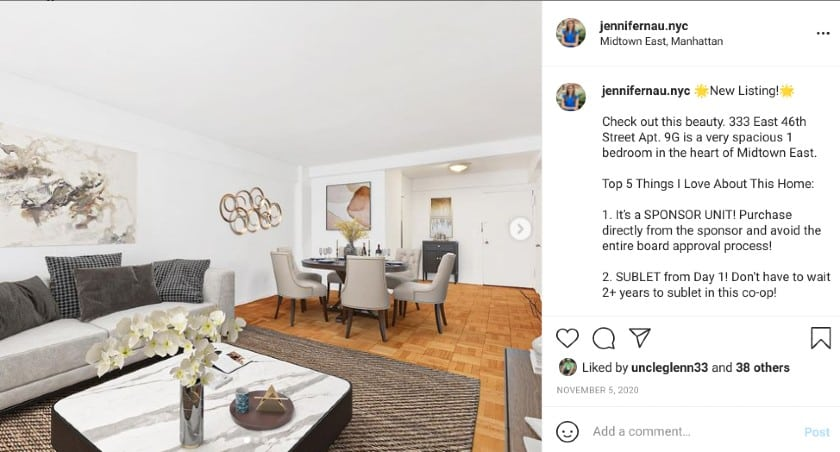 Screenshot of a real estate agent's Instagram page
