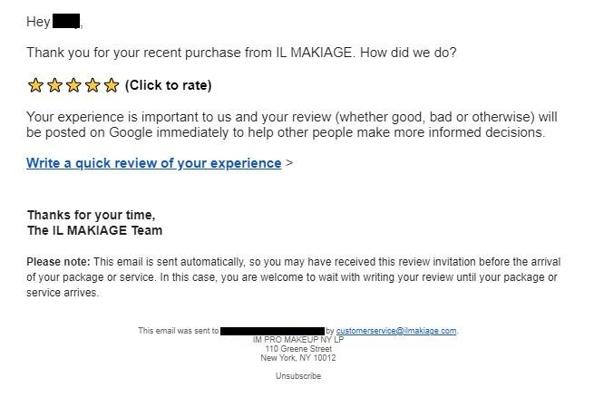 email sample sent to customer to get review