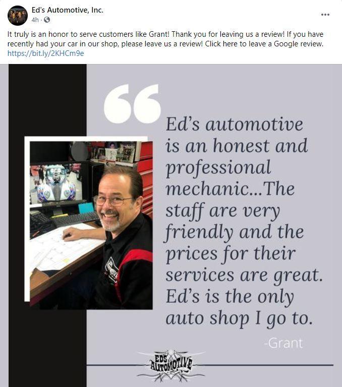 social media post of customer review