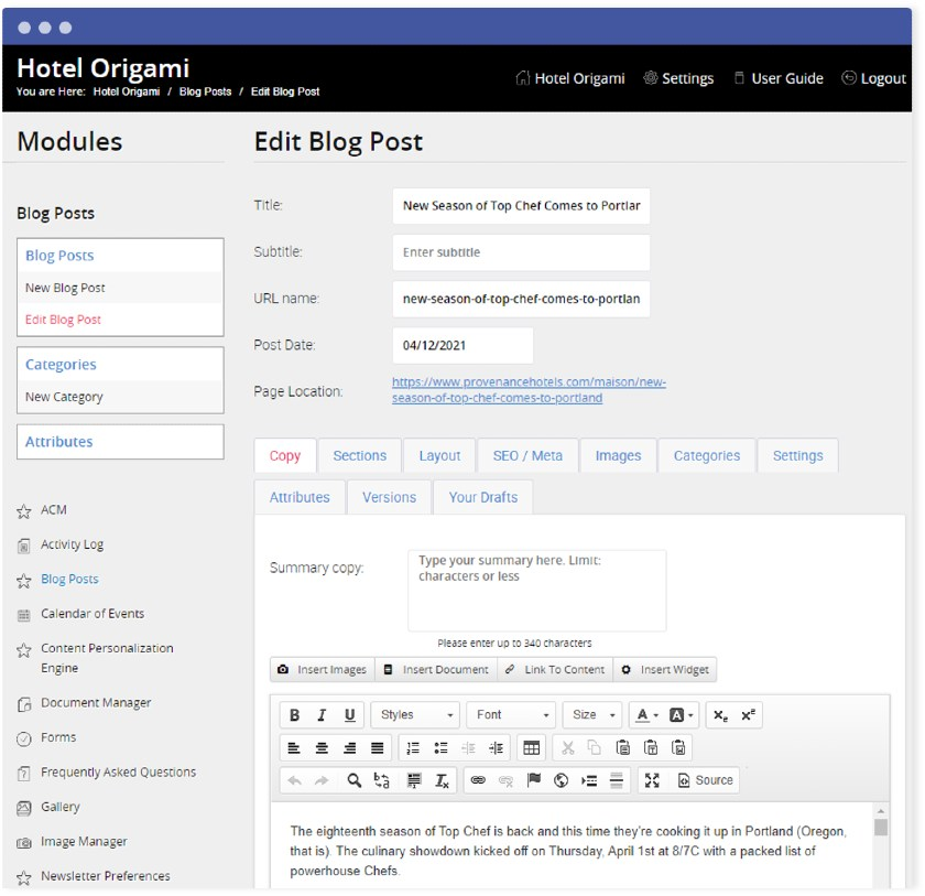 Cendlyn Blog Content Editor
