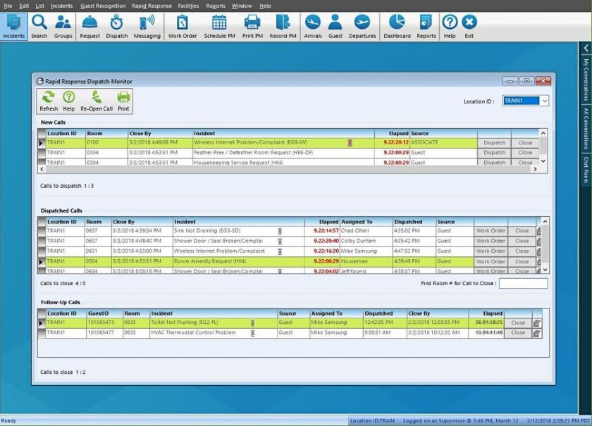 Guestware Rapid Response Dispatch Monitor
