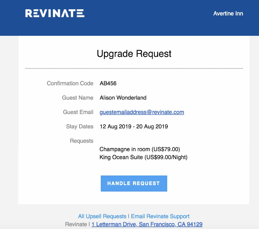 Revinate Upsell Request