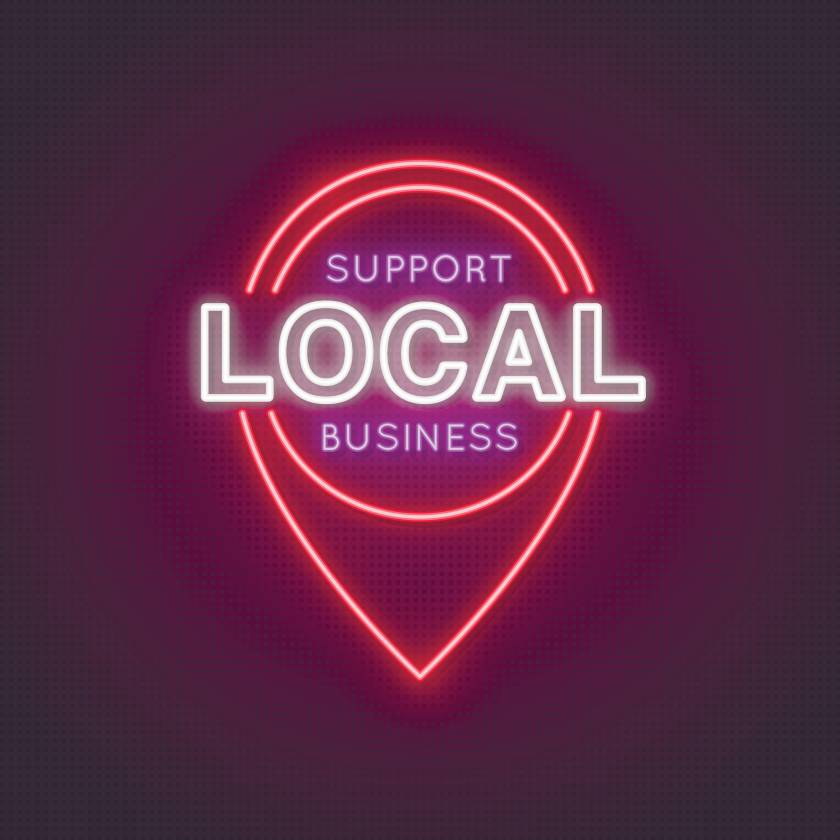 Support Local Business neon glowing icon