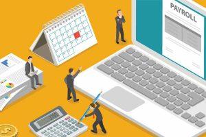 Graphic Businessmen Calculating Salary
