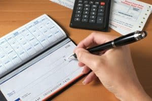 Writing a Check with calculator