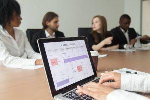 Woman Using Digital Organizer Calendar Application
