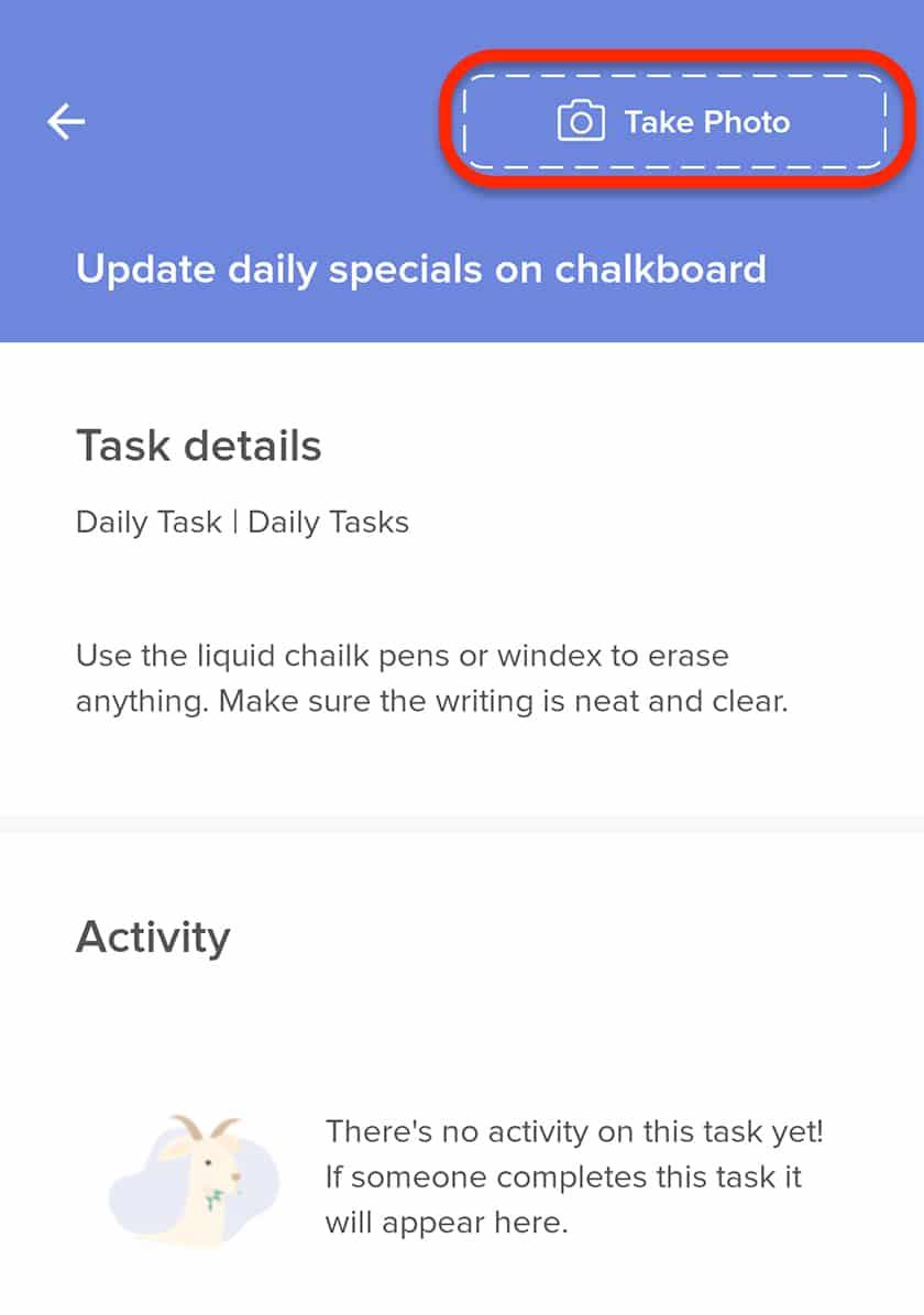 Screenshot of 7Shifts photos of tasks