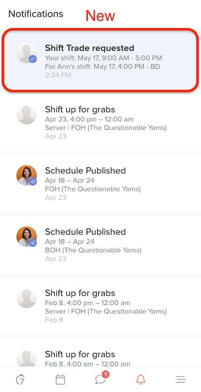Screenshot of 7shifts Notifications