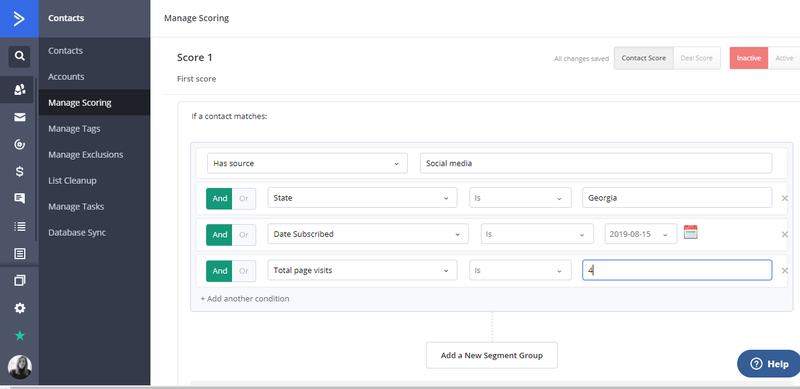 ActiveCampaign Lead Scoring Configuration Page