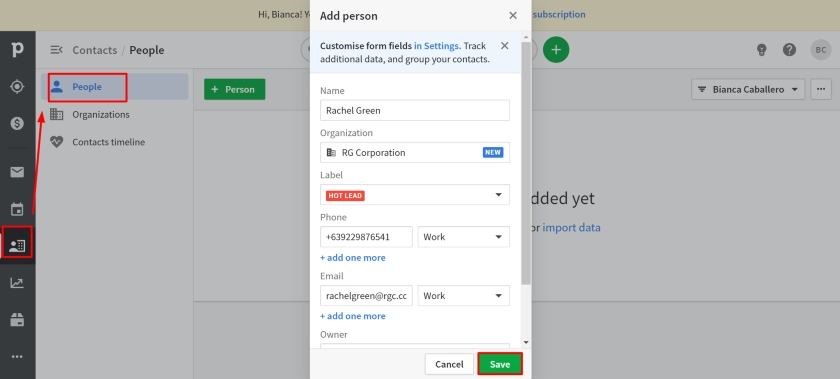 Adding a contact in Pipedrive