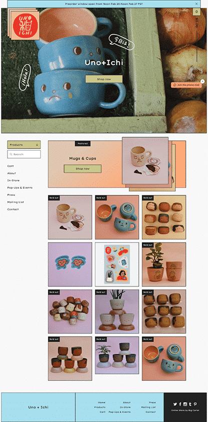 Screenshot of Big Cartel website templates