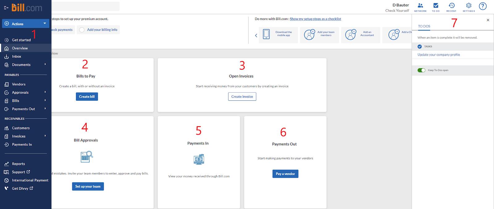 View of Bill.com Dashboard