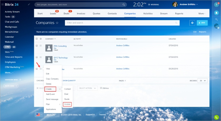 Bitrix24 Create an Invoice from a Lead