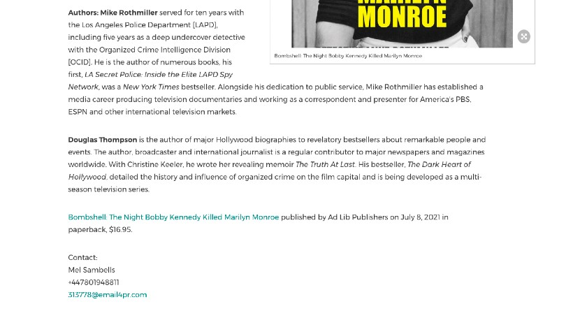 Book press release boilerplate example