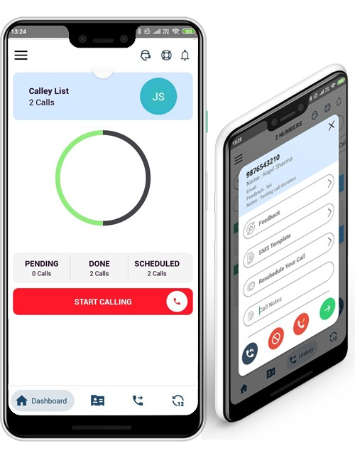 Calley Automatic Dialer Mobile App Interface