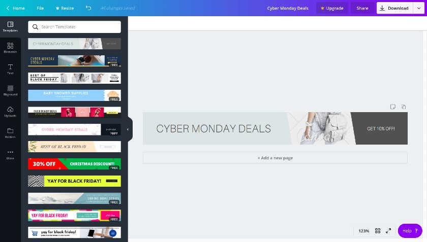 Canva Cyber Monday Deals Banner Ad Template