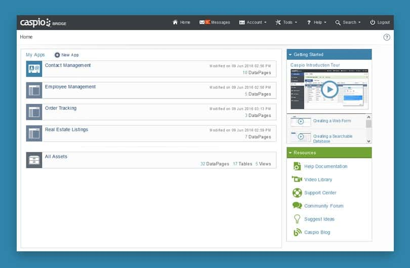 Caspio Application Design Home Page.