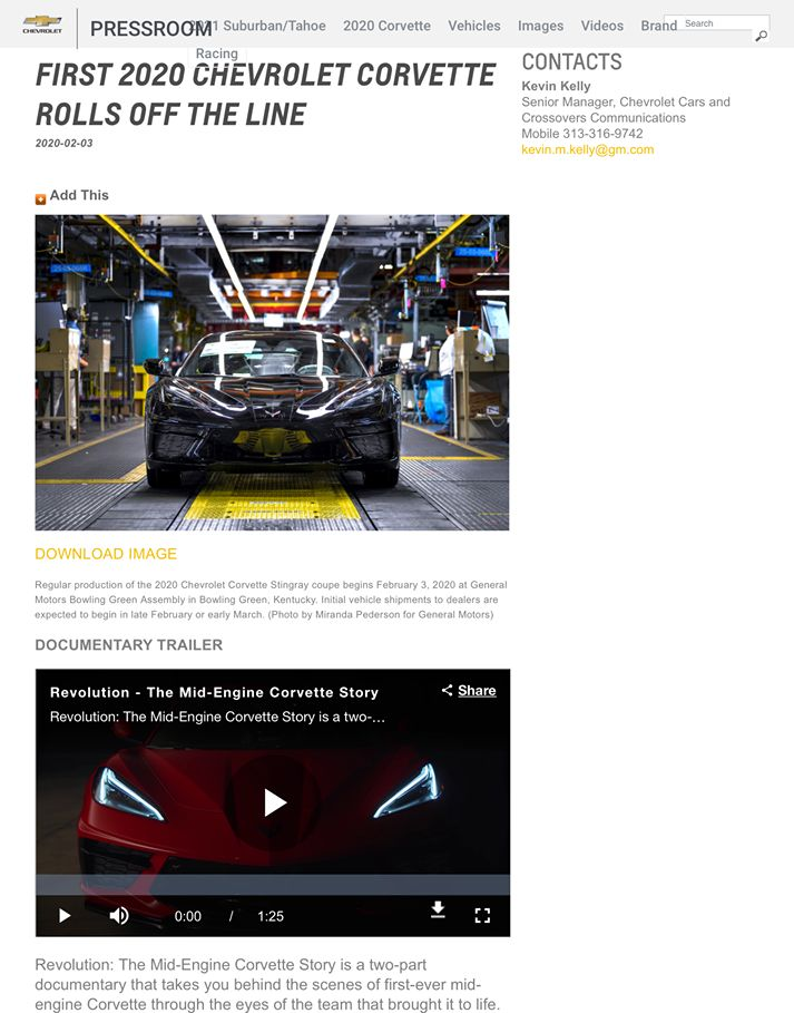 Chevrolet product launch Press Release