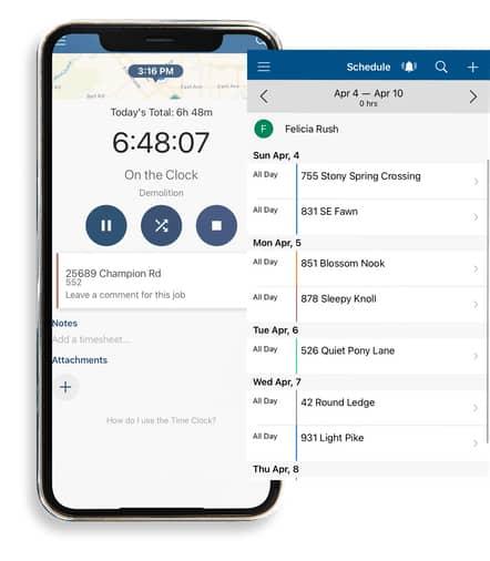Screenshot of ClockShark Mobile Time Tracker