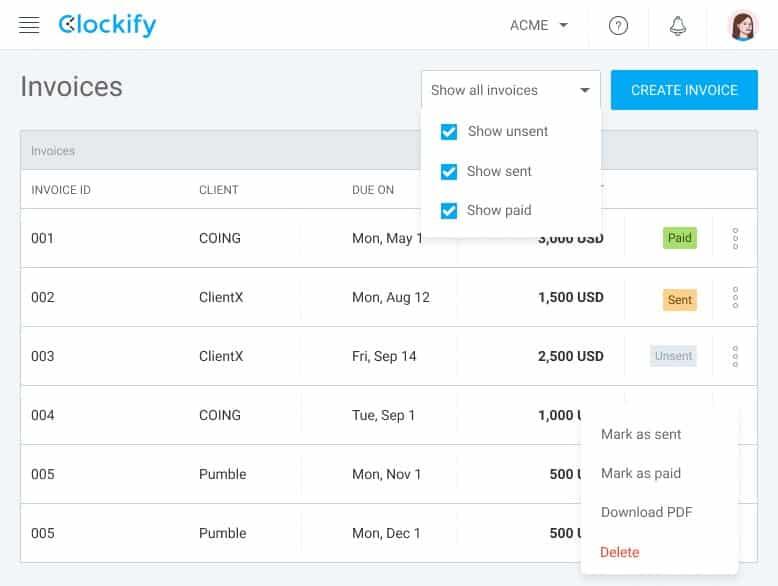 Clockify Invoicing Dashboard