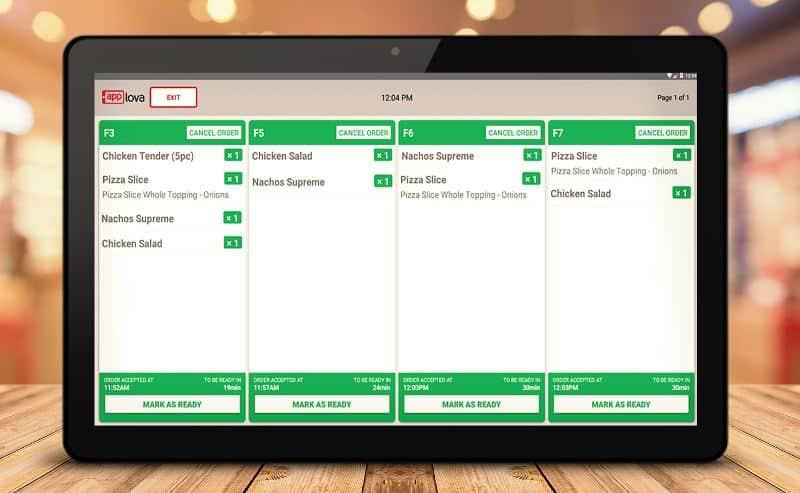 Screenshot of Clover Applova KDS interface
